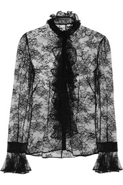Alexander McQueen Ruffled Chantilly lace blouse