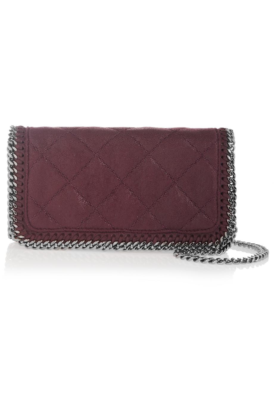 Stella Mccartney The Falabella Faux Brushed-Leather Shoulder Bag, Burgundy, Women's