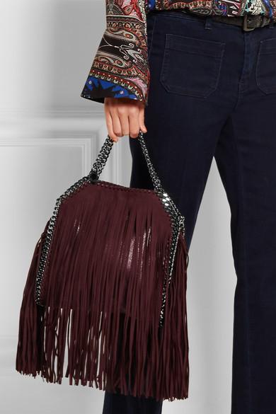 Stella McCartney. The Falabella mini fringed faux brushed-leather shoulder  bag. £528. Zoom In 9bcff768e4e77