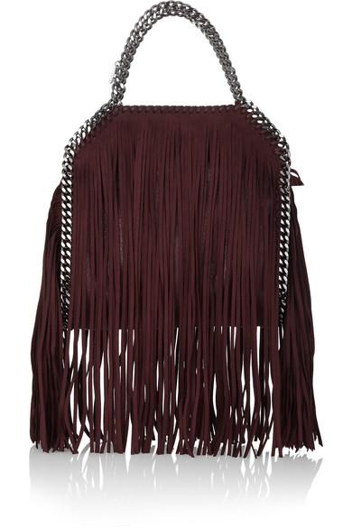 Stella McCartney. The Falabella mini fringed faux brushed-leather shoulder  bag ddaa0321939f1