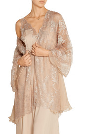 Amori Insostenibili lace-appliquéd tulle and silk-georgette robe