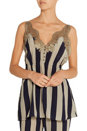Striped lace-trimmed silk-georgette camisole