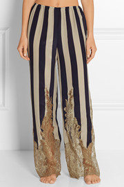 Striped lace-trimmed silk-georgette pajama pants