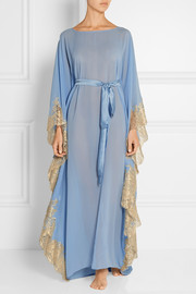 Turks and Caicos lace-trimmed silk-georgette kaftan