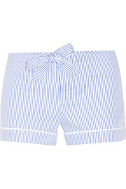 Striped seersucker cotton pajama shorts