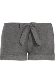 Montana herringbone brushed-cotton pajama shorts