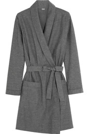 Montana herringbone brushed-cotton robe
