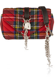 Baby Punk leather-trimmed quilted tartan wool shoulder bag