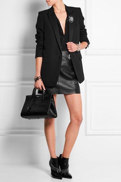 af60c7827 ... saint laurent medium for sale - iOffer Medium Cabas Rive Gauche Bag In Black  Crocodile Embossed Leather ...