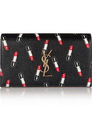 Monogramme printed textured-leather clutch
