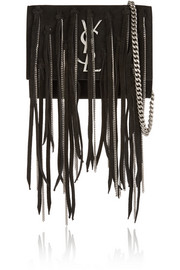 Monogramme small fringed suede shoulder bag