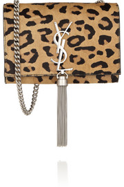 Saint Laurent Monogramme small leopard-print calf hair and leather shoulder bag