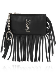 Saint Laurent Monogramme small fringed leather pouch