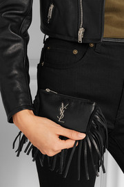 Monogramme small fringed leather pouch