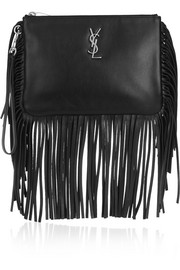 Monogramme fringed leather pouch