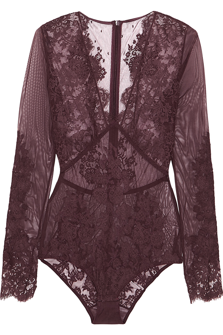 I.D. Sarrieri Chantilly Lace and Stretch-Tulle Bodysuit, Burgundy, Women's, Size: 1