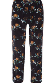Addition floral-print silk-crepe tapered pants