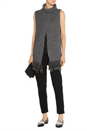 Addition fringed split-front knitted sweater
