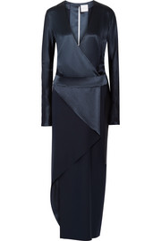 Wrap-effect silk-satin crepe dress