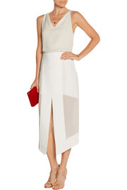 Paneled tech-jersey and chiffon midi skirt