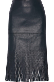 Die-cut leather skirt