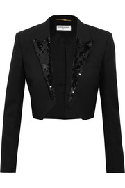 Saint Laurent Cropped sequin-embellished wool-crepe blazer