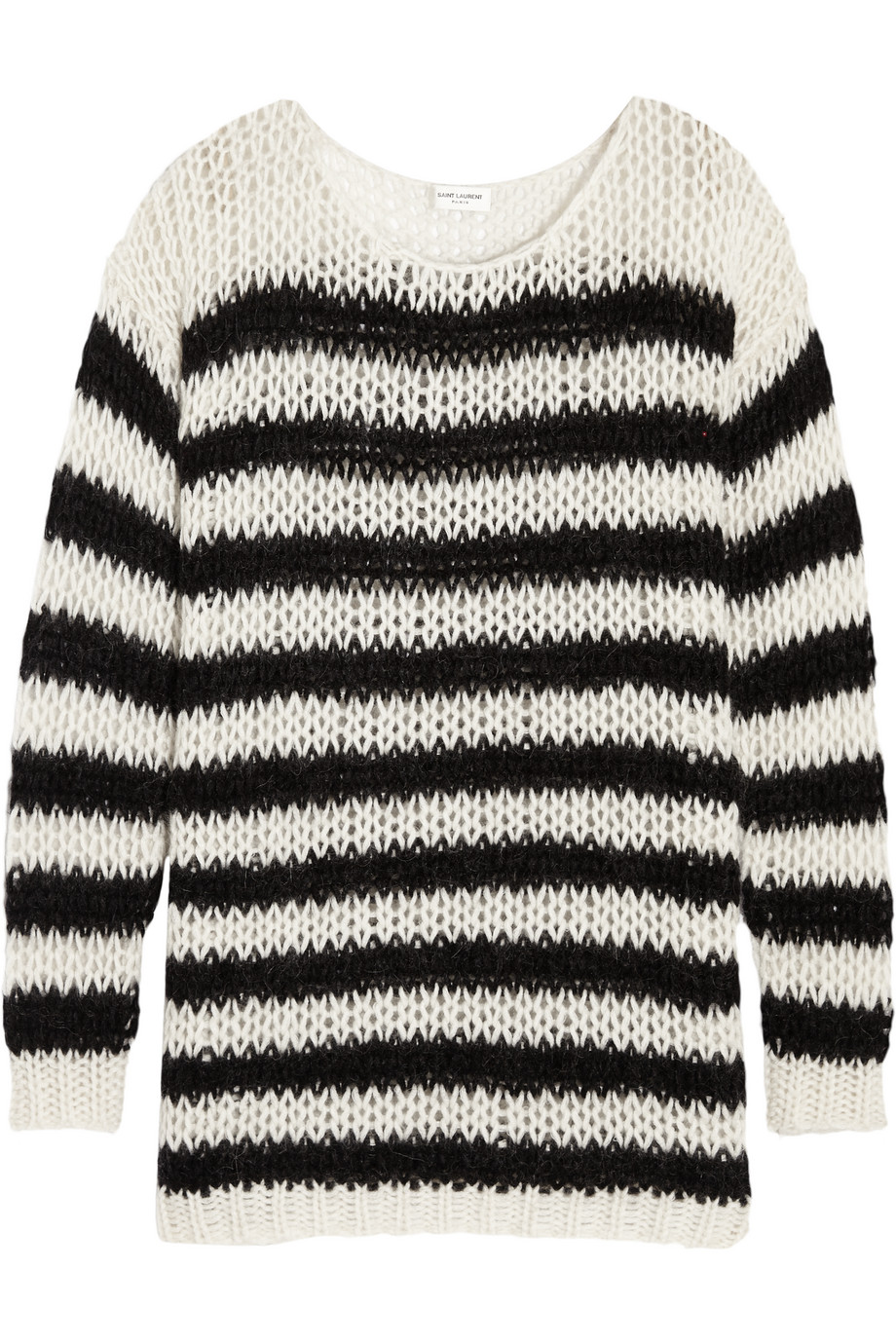 Saint Laurent Striped Wool-Blend Sweater, Off-White, Women's, Size: M