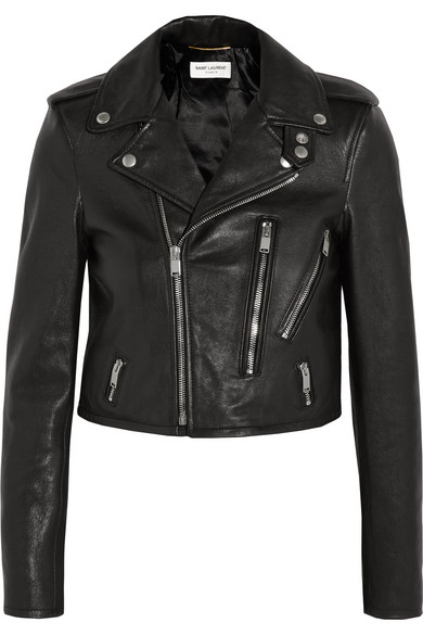 SAINT LAURENT Classic Calf Leather Moto Jacket in Black