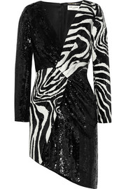 Asymmetric zebra-print sequined wool mini dress