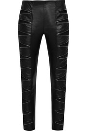 Zip-detailed cutout leather skinny pants