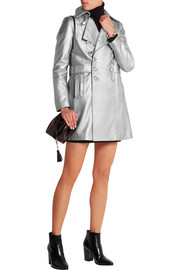 Saint Laurent Metallic leather coat
