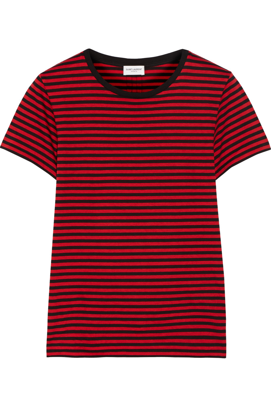 Saint Laurent Striped Cotton-Jersey T-Shirt, Red, Women's