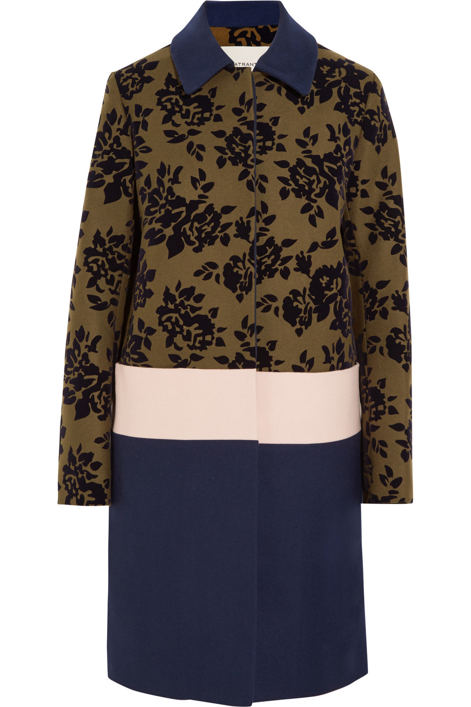 Mary Katrantzou Jamie Flocked Wool-Blend Coat, Army Green/Navy, Women's, Size: 6