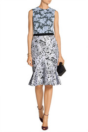 Anne Catherine flocked tulle and printed twill dress