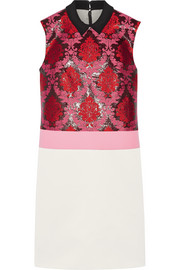 Mary Katrantzou Wool-paneled jacquard and satin mini dress