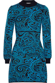 Lilla paisley-intarsia stretch-knit mini dress