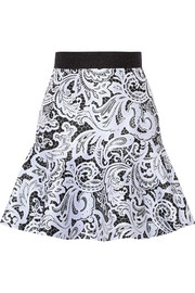 Paige printed satin-twill mini skirt