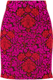 Renzie flocked wool-blend jacquard mini skirt