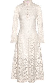 Embroidered cotton-blend organza midi dress