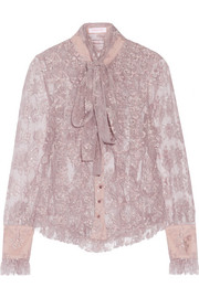 Pussy-bow metallic lace shirt
