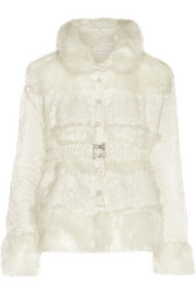 Faux fur-paneled devoré-chiffon jacket
