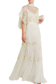 Sura embroidered tulle and silk-blend chiffon gown