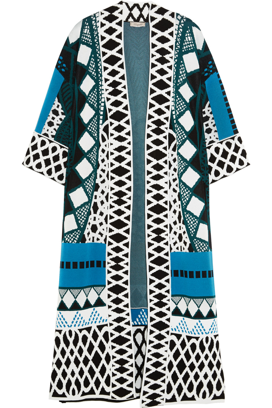 Gayla Intarsia Stretch-Knit Coat, Temperley London, Azure, Women's