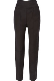 Era satin-trimmed wool-blend twill tapered pants