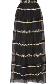 Almas satin-trimmed embroidered tulle maxi skirt