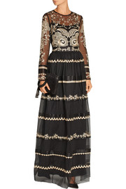 Temperley London Almas satin-trimmed embroidered tulle maxi skirt