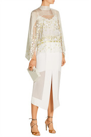 Sura embroidered tulle and silk-blend chiffon top