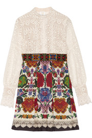 Lace and cotton-blend jacquard mini dress