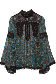 Lace-paneled printed silk-chiffon blouse