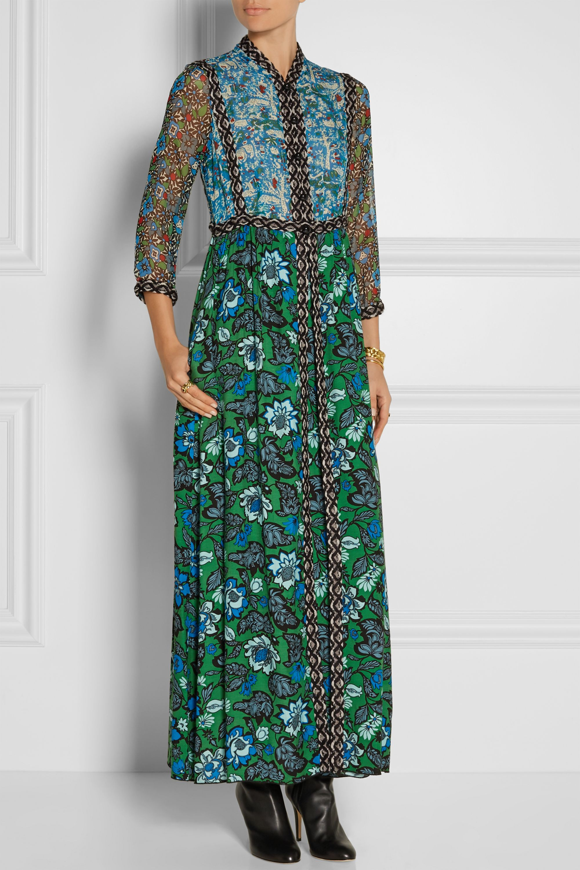 Anna Sui Printed crinkled silk-chiffon and twill maxi dress
